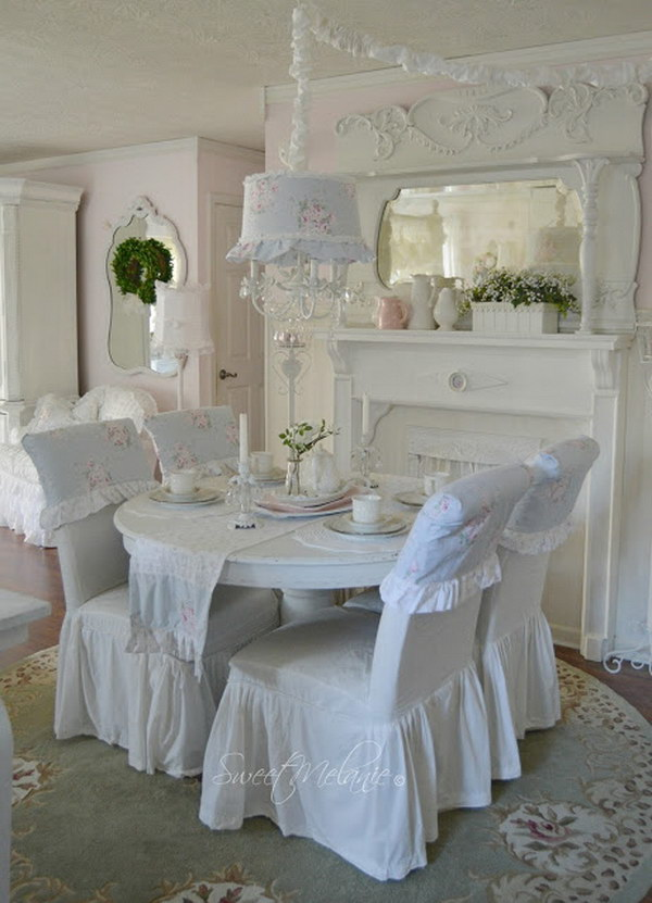 Use Bedding in an Unconventional Way For Your Shabby Chic Dining Room Decoration.