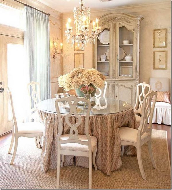 Vintage Hanging Chandelier Over The Dining Table.