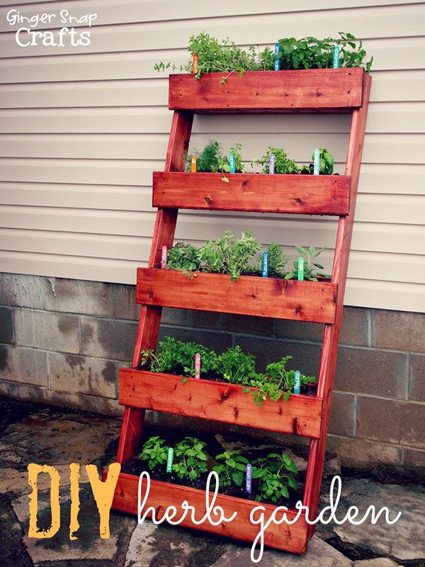 DIY Leaning Bookshelf Vertical Garden