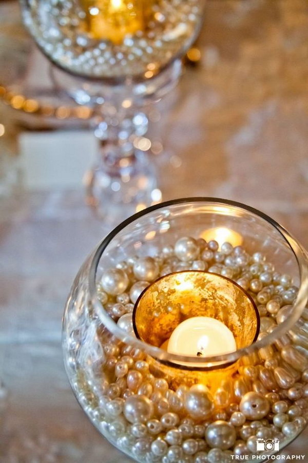 Budget Pearls Decorated Centerpieces