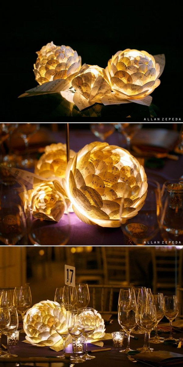 Paper Flowers With LED Lamp Inside Centerpieces
