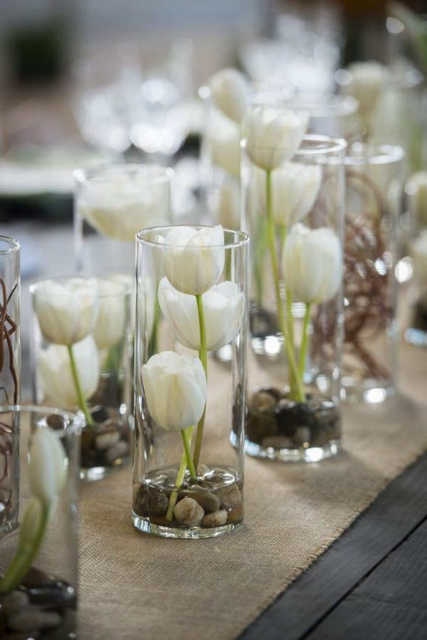 Vases Filled with White Tulips
