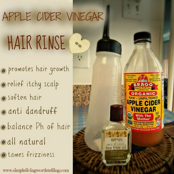 Rinse your hair with apple cider vinegar for stronger and healthier hair.