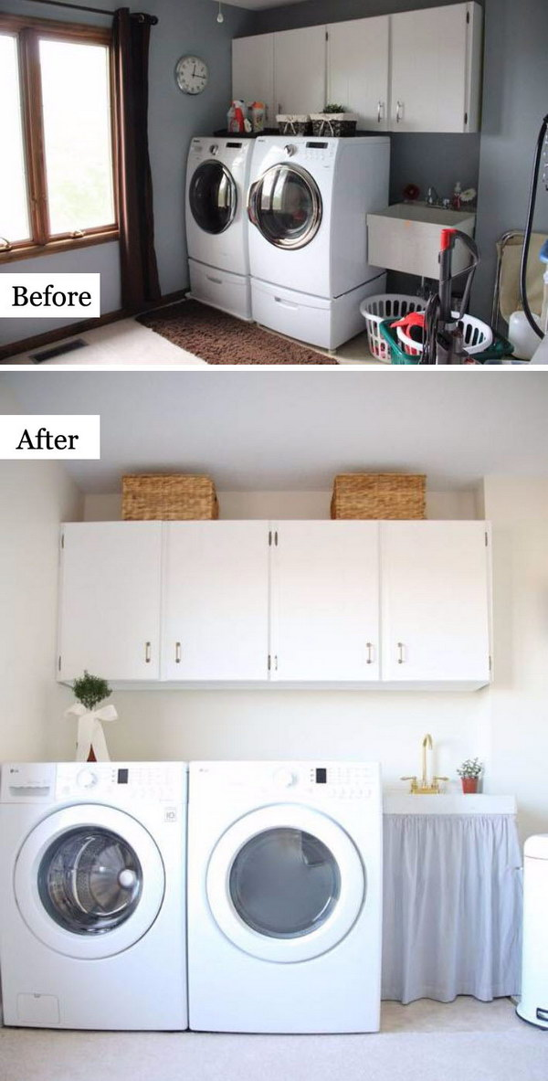 Budget Friendly Laundry Makeover: From Outdated to Bright and Airy with a Monochromatic Palette and the Addition of Brass Hardware and Fixtures.