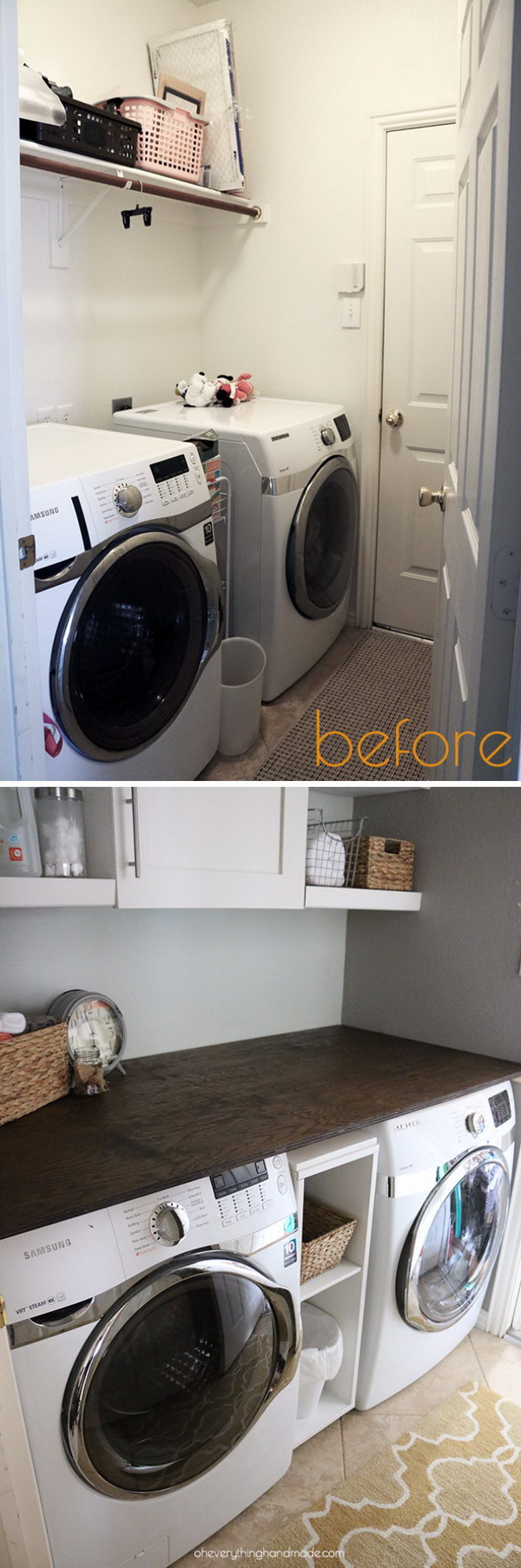 Laundry Room Makeover: Adding a DIY Wooden Counter and Wall Cabinet.
