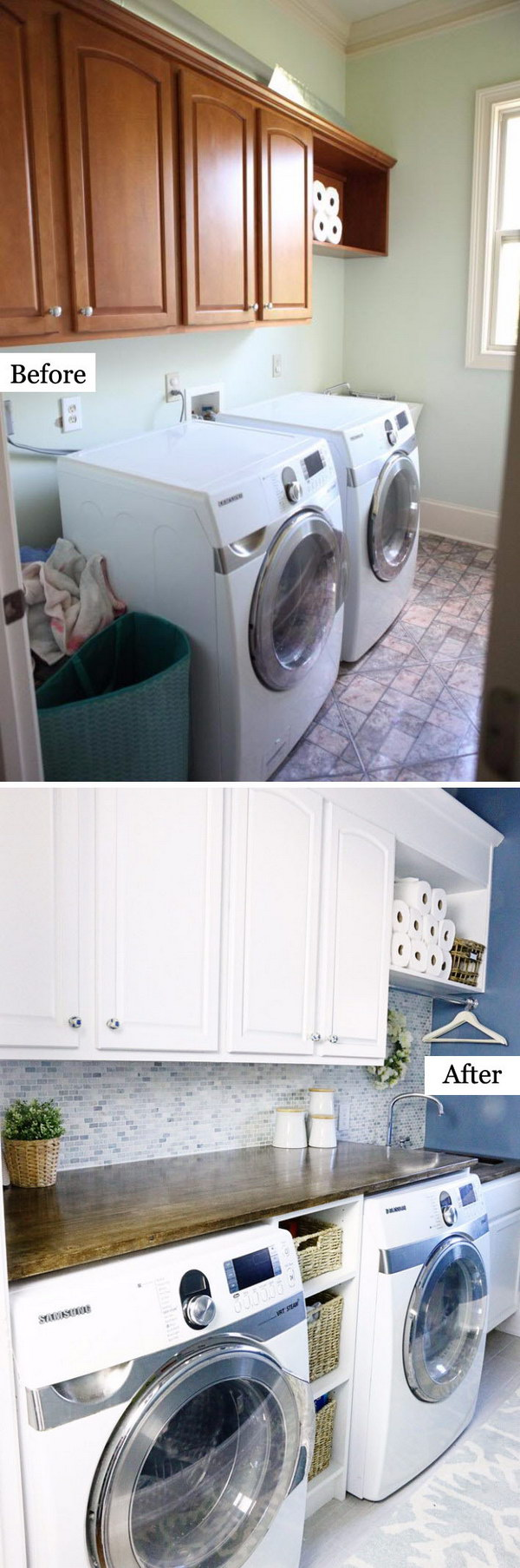 Laundry Room Makeover from Boring to Beautiful and Functional.