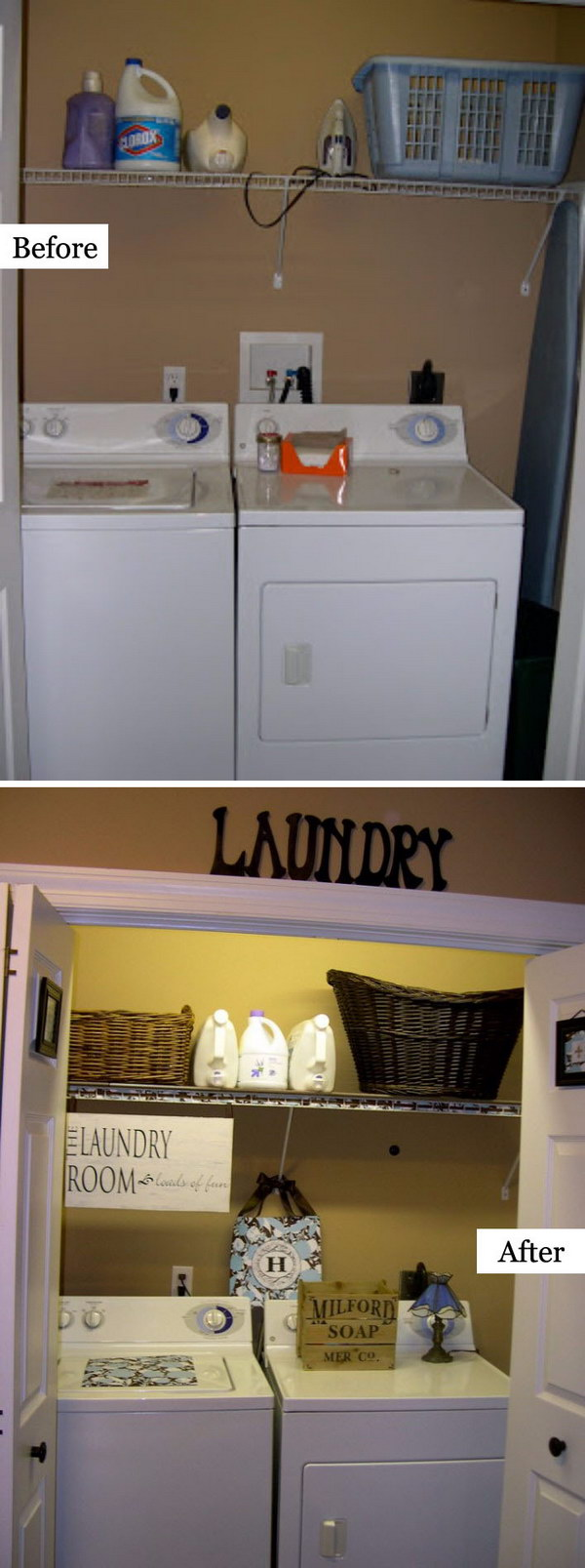 A Dark, Dated Laundry Room Makeover.