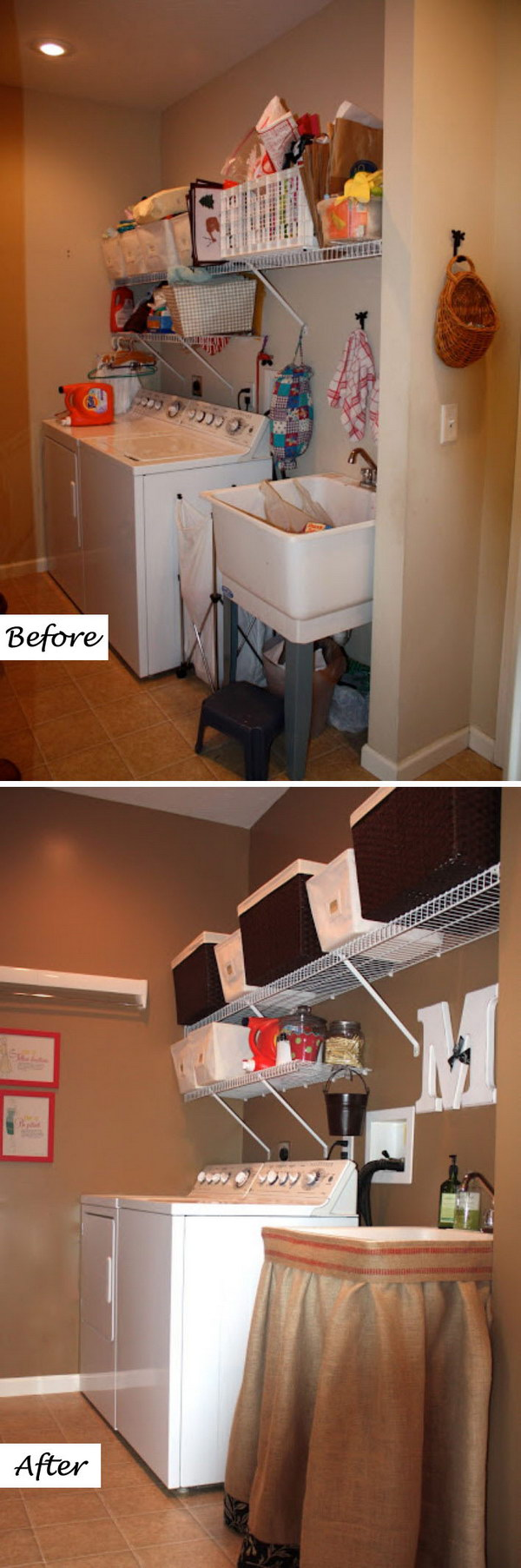 Organized and Rustic Laundry Room Makeover.