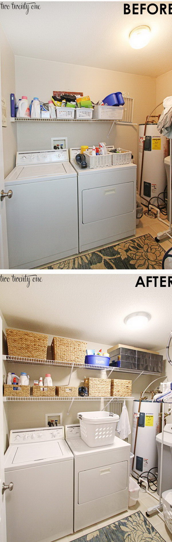 DIY Laundry Room Makeover with More Storage Space.