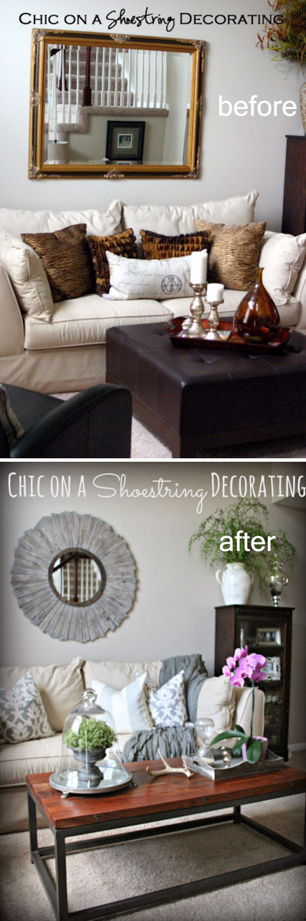 Living Room Makeover From Brown to Gray.