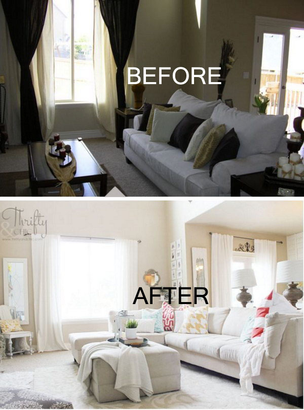 White And Bright Living Room Makeover.
