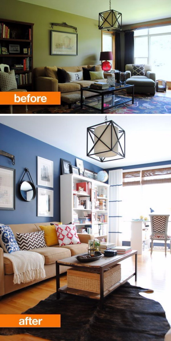 Affordable Upgrade: Make the Dull Living Room Fresh and Fun with Paint.