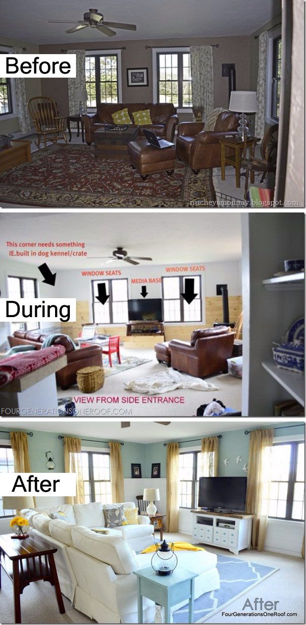 Coastal Cottage Family Room Before and After.