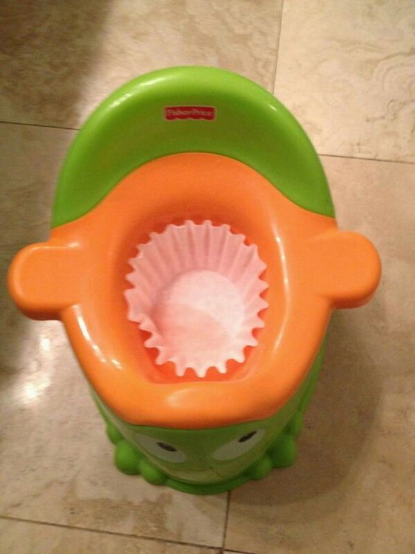 Put a coffee filter in your kid's potty to make cleanup easier.