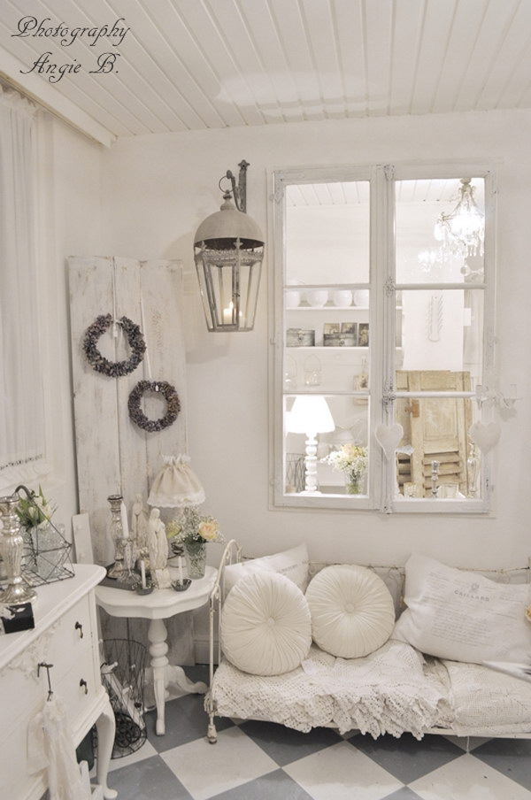 Shabby Chic Vintage White Living Room
