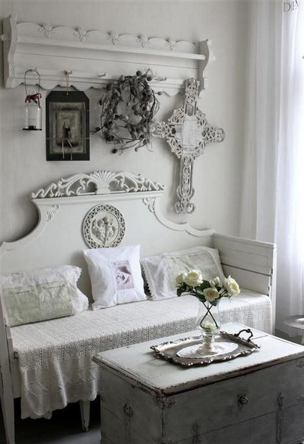 White in White Shabby Chic Living Room
