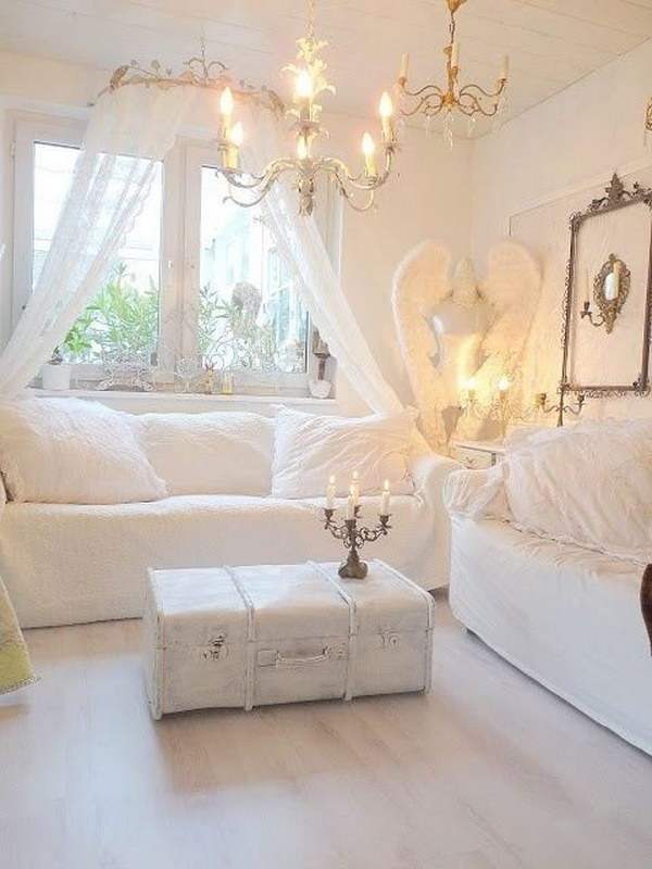 Clean and Cozy Look White Living Room