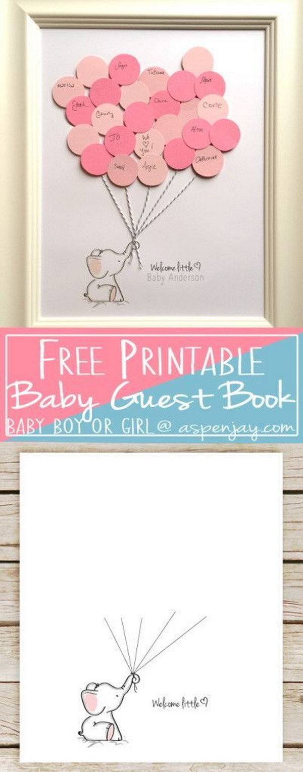 DIY Balloon Elephant Baby Shower Guest Book And Free Printable