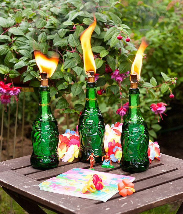 DIY Tiki Torch Made From Old Bottles