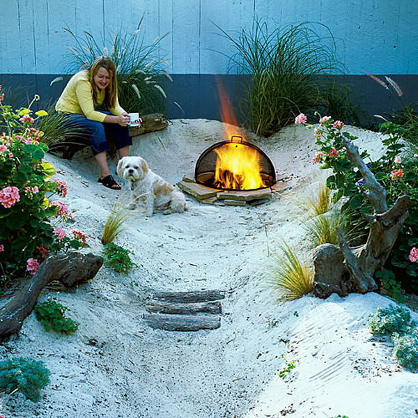 Build a beach in a corner of your backyard