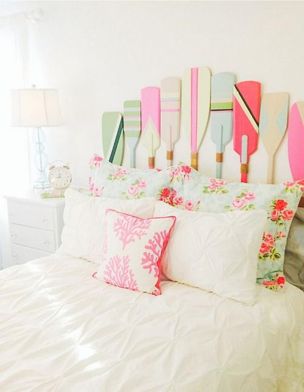 Adorable Painted Paddles Headboard
