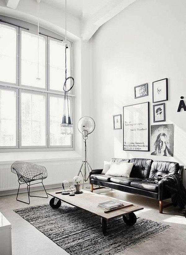 Grey Industrial Living Rooms