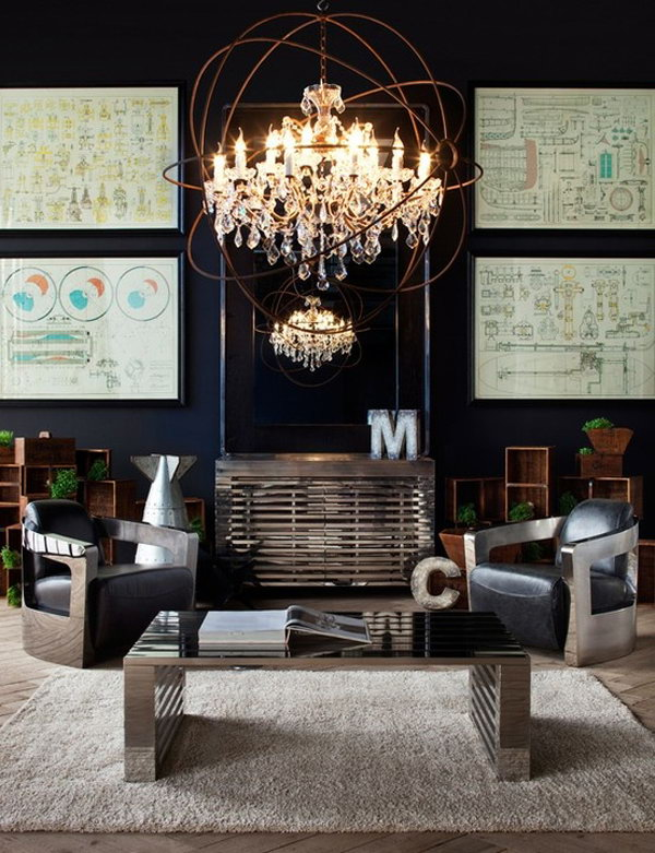 Industrial Living Rooms With Classic Chandelier