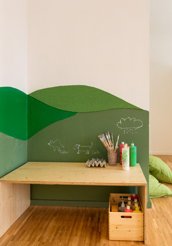 Simple Kids Desk In Corner With Wall Painting