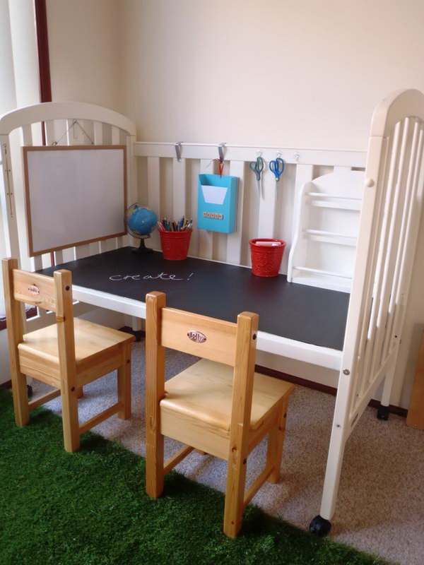 DIY Kids Desk Made From Crib