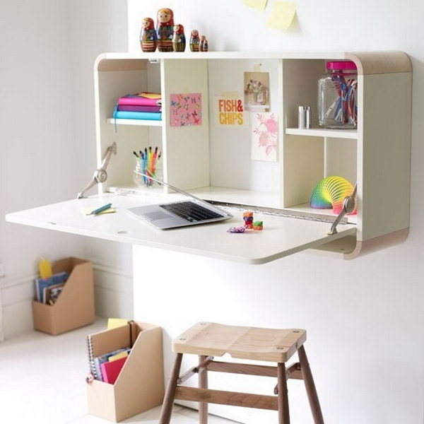 A Wall Mounted Desk Combining A Storage And Work Area