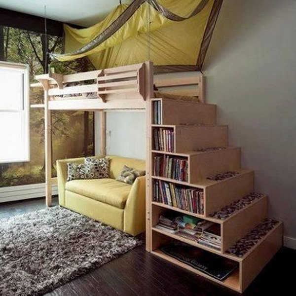 loft bed with storage staircase