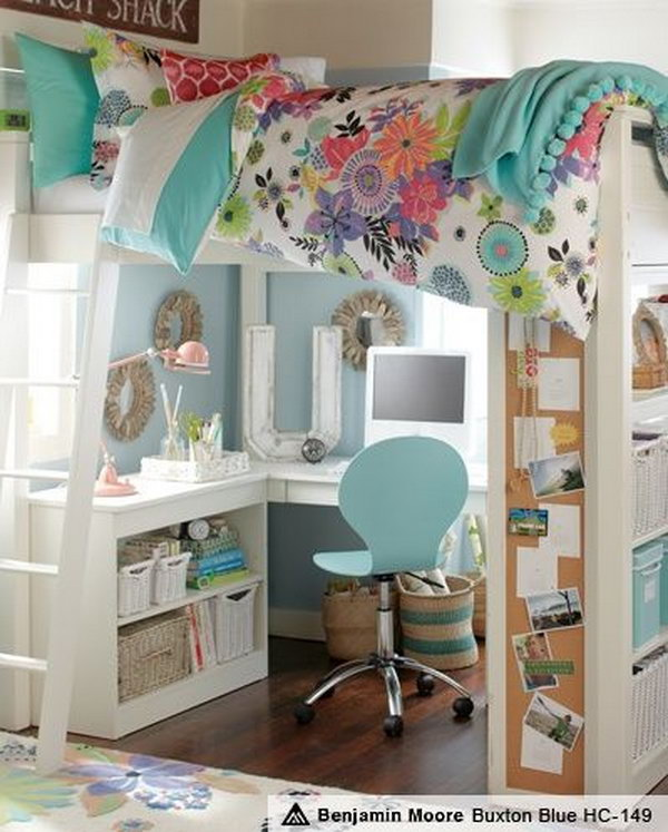 Teen Girl Loft Bed With Homework Station