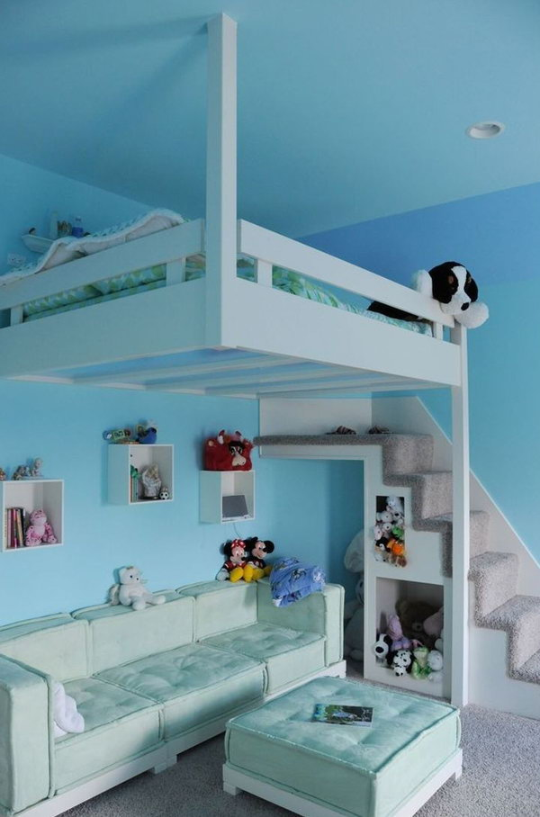 Blue Hanging Loft Bed For Kids