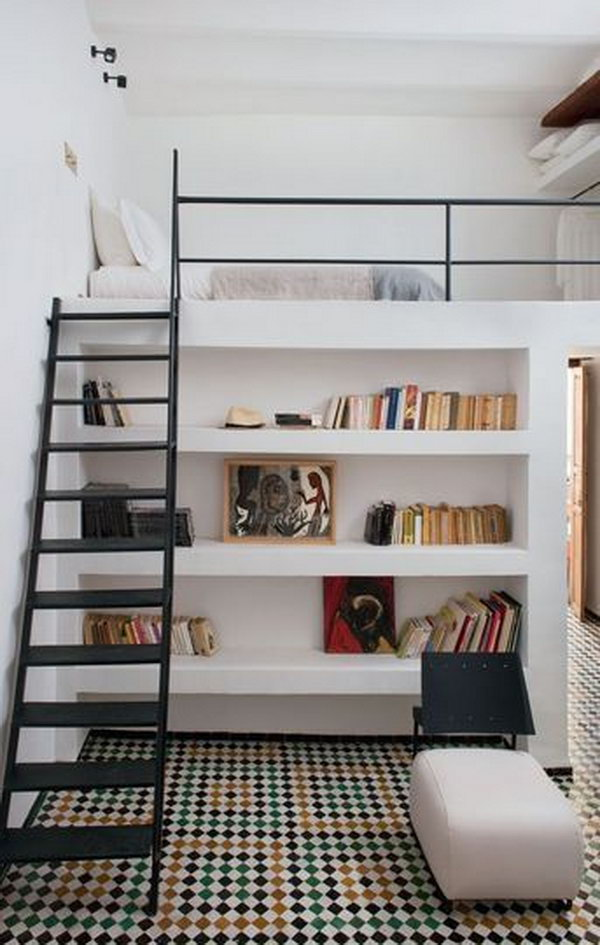 Modern Style Loft Bed With Stairs