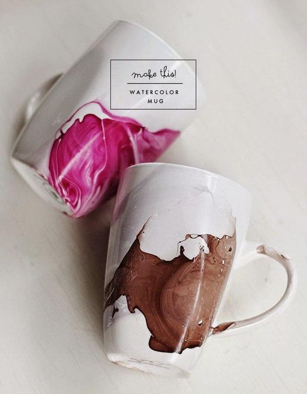 Use Nail Polish to DIY Watercolor Coffee Mugs