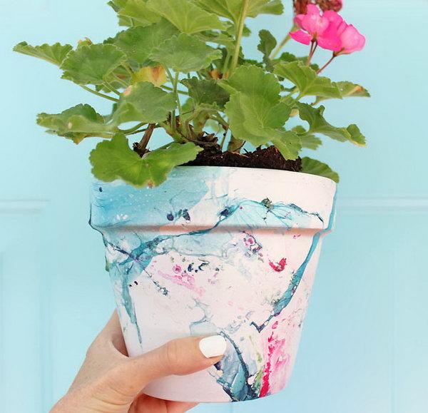 Or DIY Marbled Flower Pot