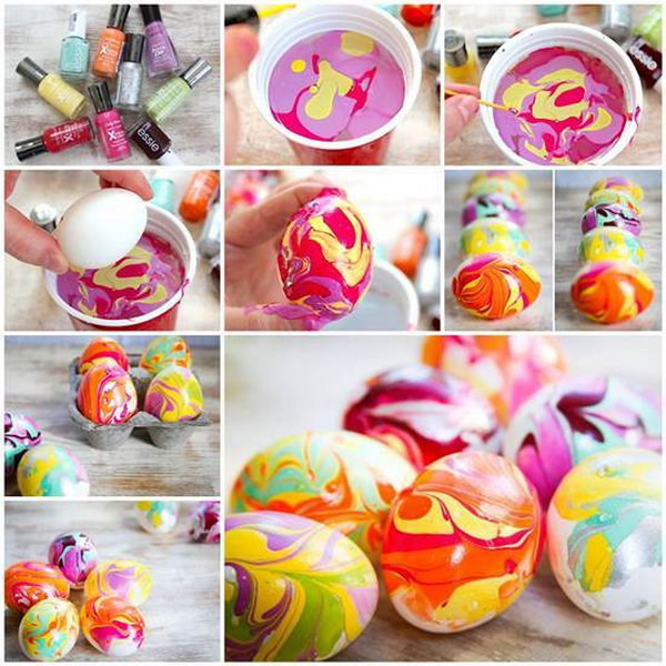 DIY Easter Nail Polish Marbled Eggs