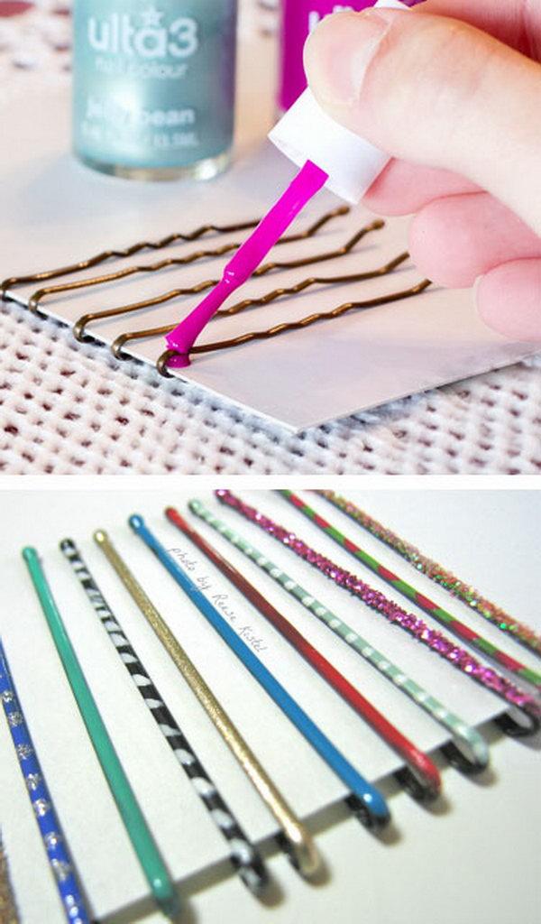 Use Nail Polish to Paint Bobby Pins for Extra Glamor