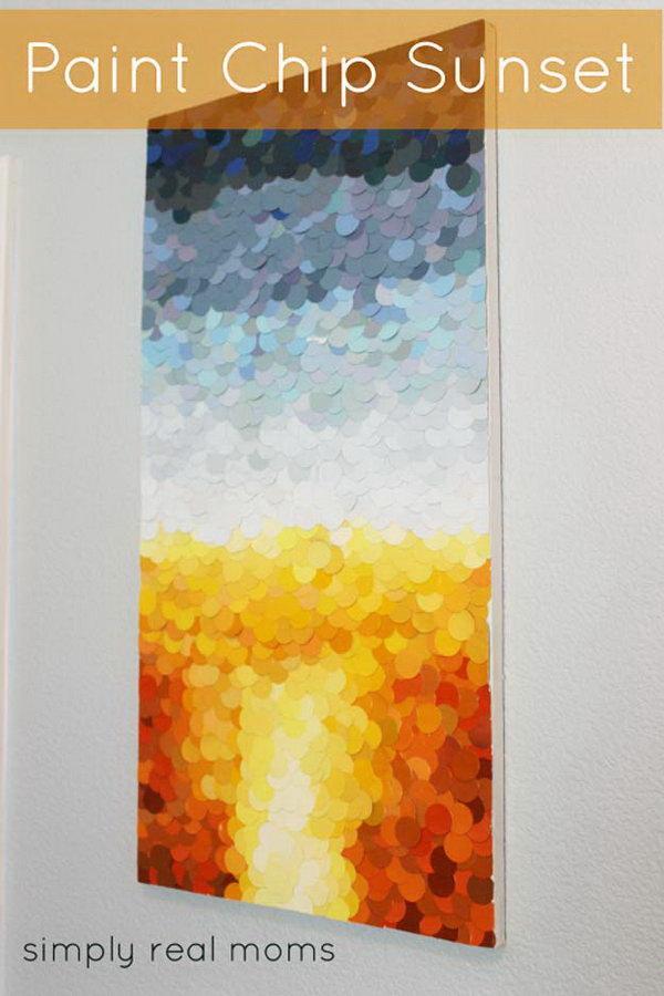 DIY Paint Chip Sunset Art