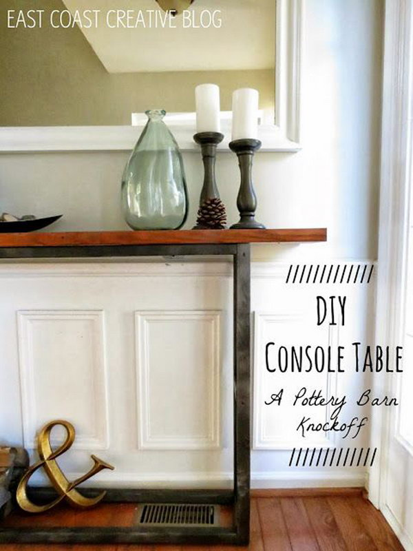 DIY Console Table {A Pottery Barn Knock Off}