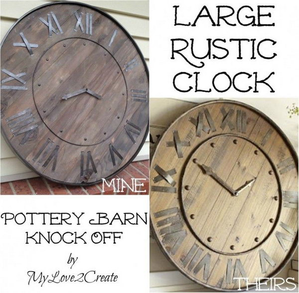 Pottery Barn Inspired Large Rustic Clock