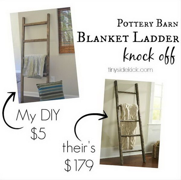 DIY Blanket Ladder Knock Off That Costs Under $5