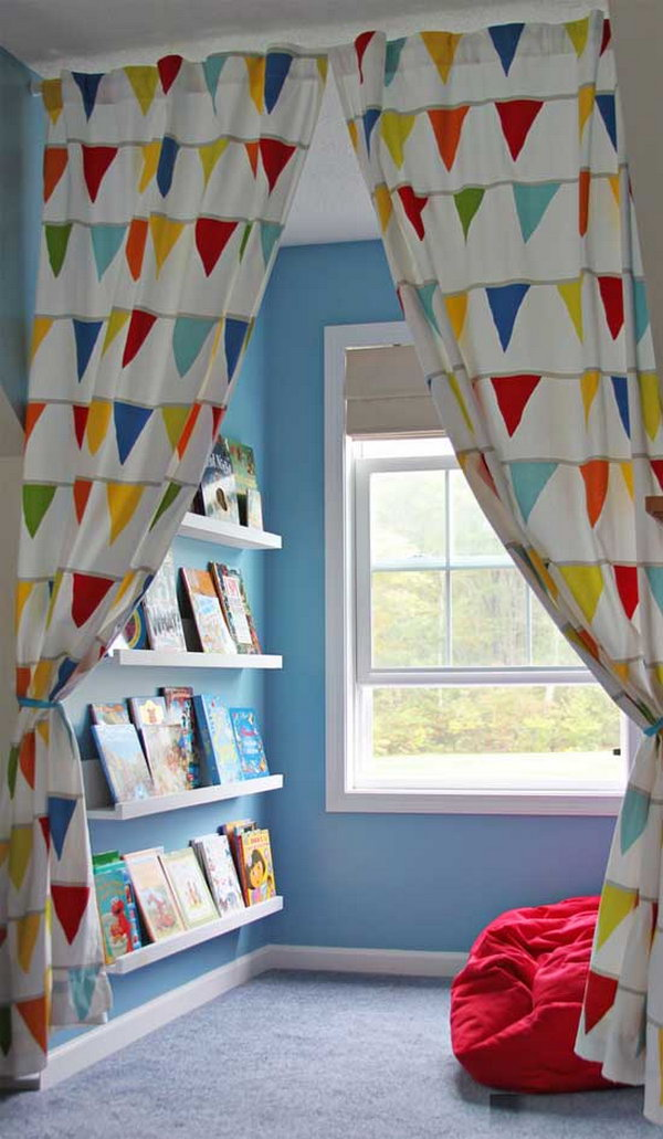 Wasted Space to Reading Nook with Colorful Curtain