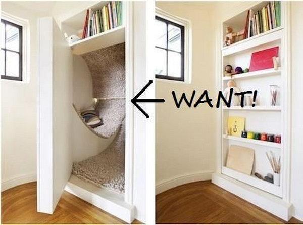 Secret Reading Nook with a Bookshelf Door