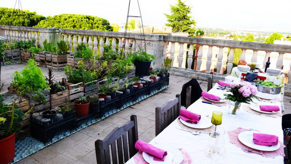 Rooftop Garden With Dining Area