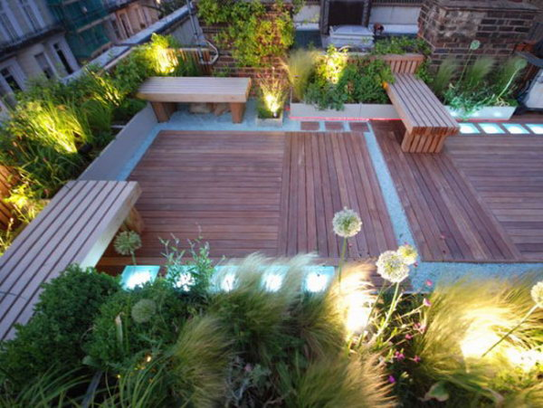 Lighted Ornamental Plants Based Rooftop Garden