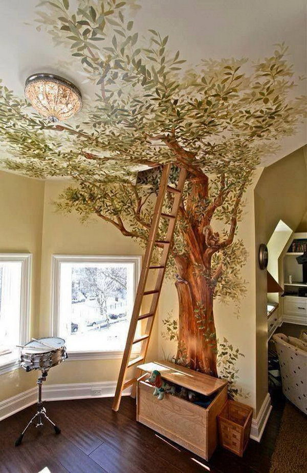 Secret Loft With Tree Painted Up Onto The Ceiling