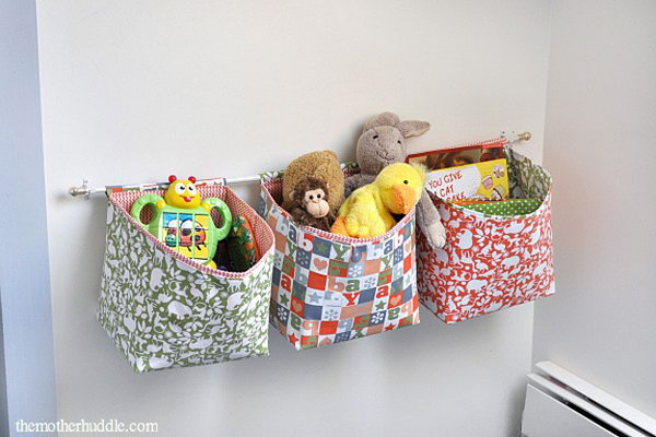 Create These Easy Hanging Fabric Storage Baskets to Utilize Vertical Space