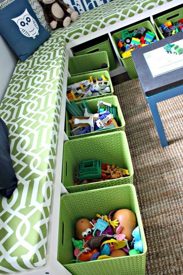Turn Two iKea EXPEDIT Bookshelves into Storage Bench