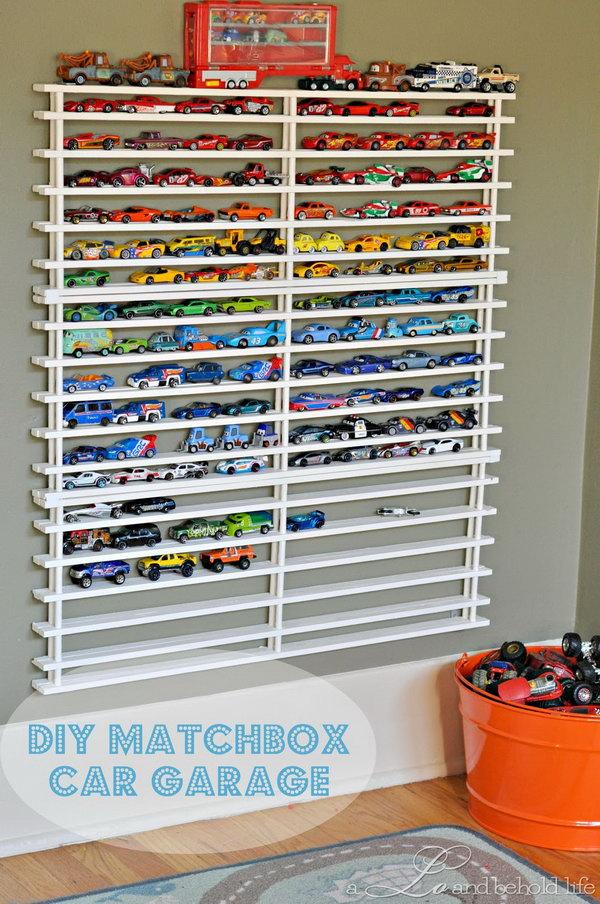 DIY Matchbox Car Garage on Wall